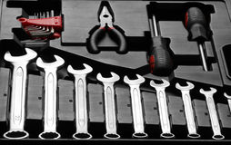 Spanners and hand tools in Particular Design Box. Spanners and Several hand tools in Particular Design Box Royalty Free Stock Photos