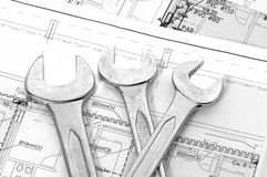 Spanners and house plan Royalty Free Stock Image