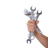 Spanners in a man hand Stock Photos