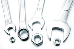 Spanners and nuts Royalty Free Stock Images