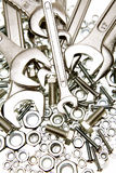 Spanners, nuts and bolts Stock Photo