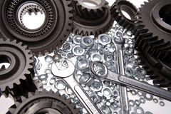 Spanners, nuts & gears Stock Images