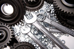 Spanners, nuts & gears Stock Photos