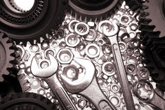 Spanners, nuts & gears Stock Photo