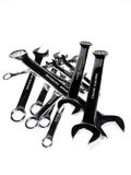 Spanners over white. Spanners tool with chromium-plated Royalty Free Stock Photos
