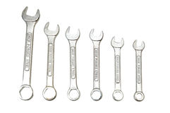 Spanners of various sizes isolated Royalty Free Stock Photo