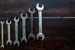 Spanners of various sizes  on the wooden Stock Images