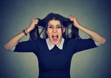 spanning Beklemtoonde de vrouw gaat gek trekkend haar haar in frustratie stock fotografie