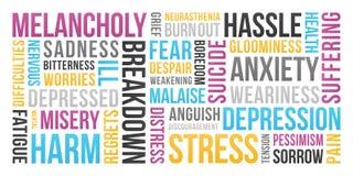Spanning, Depressie, Bezorgdheid - Word Wolk stock illustratie