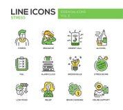 Spanning op het werk - geplaatste de pictogrammen van het lijnontwerp stock illustratie