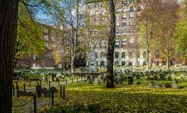 Spannmålsmagasin som begraver jordkyrkogården - Boston, Massachusetts, USA Arkivfoto