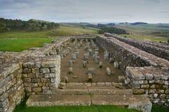 Spannmålsmagasinet på det Housesteads fortet, vägg för Hadrian ` s, Northumbria royaltyfri foto