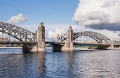 Spans Bolsheokhtinsky bridge. The view from the Sinopskaya embankment. Saint Petersburg Stock Photos