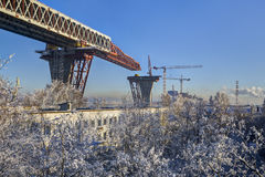 Spans overpass under construction highway bridge over the reside Royalty Free Stock Images