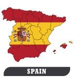 Spansk översikt och spansk flagga royaltyfri illustrationer