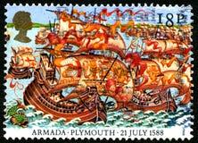 Spansk armada i Plymouth UK portostämpel Arkivbild