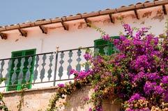 Spansk balkong med blommor arkivfoton