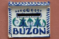 Spansk brevlåda - Buzon Royaltyfria Bilder