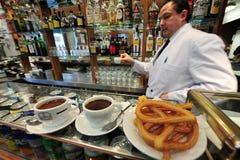 Spansk cafe i Madrid Spanien Royaltyfria Bilder