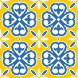 Spansk design för för modell för tegelplattor sömlös, marockansk och portugisisk tegelplatta i marinblått och gult - Azulejo royaltyfri illustrationer