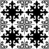 Spansk design för för modell för tegelplattor sömlös, marockansk och portugisisk tegelplatta i svartvitt - Azulejo vektor illustrationer