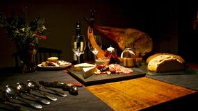 Spansk festlig gourmet- tabell, jul Arkivbilder