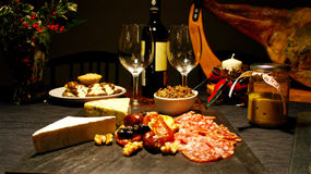 Spansk festlig gourmet- tabell, jul Royaltyfri Foto