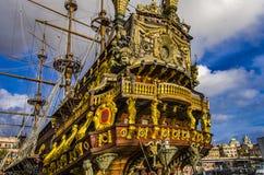 Spansk gallion Neptun i Genua port Fotografering för Bildbyråer