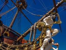 Spansk gallion Neptun i Genua port Arkivfoton