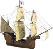 Spansk spansk gallion, seglingskepp som isoleras Royaltyfria Bilder