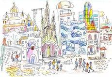 Spansk gata och arkitektur Arkivbild