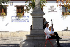 Spansk gitarrist i Granada, Andalusia Arkivfoton