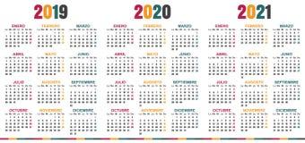 Spansk kalender 2019-2021 royaltyfri illustrationer