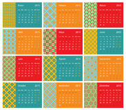 Spansk kalender 2015 royaltyfri illustrationer