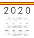 Spansk kalender för 2020 år för fyrkant vektor stock illustrationer