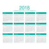 Spansk kalendervektor 2018 Arkivfoto