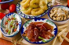 Spansk kokkonst. Blandade tapas på keramiska plattor. Arkivbilder