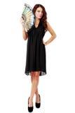 Spansk kvinna med en fan och en svart klänning Royaltyfria Foton