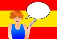 Spansk kvinna med telefonen royaltyfri illustrationer