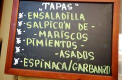 Spansk meny Royaltyfria Bilder
