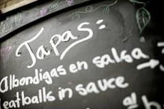 Spansk meny Fotografering för Bildbyråer