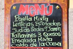 Spansk meny Arkivbild
