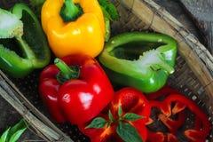 Spansk peppar eller paprika, söt peppar Arkivbilder