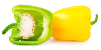 Spansk peppar med halva på vit bakgrund Royaltyfri Fotografi