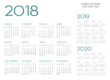 Spansk vektor för kalender 2018-2019-2020 stock illustrationer
