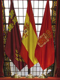 Spanska flaggor royaltyfri foto