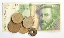 spanska gammala pesetas Arkivfoton