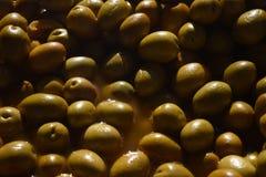 spanska olivgrön Oliv utan preservatives Fotografering för Bildbyråer