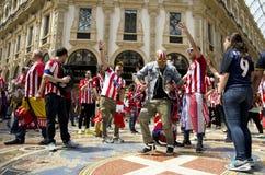 Spanska supportrar i Italien Royaltyfri Foto