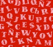 Spanskt alfabet, sömlös modell, skuggning, blyertspenna som är röd, vektor Arkivbilder